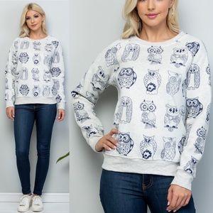 🦉Owls Print Pullover Sweater Sweatshirt
